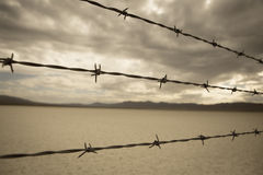 Barbed Wire in desert of nevada Royalty Free Stock Photo