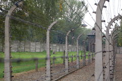Barbed wire electric fence. At Auschwitz concentration camp Royalty Free Stock Images