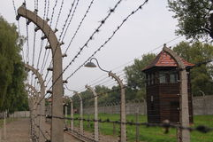 Barbed wire electric fence. At Auschwitz concentration camp Stock Photo