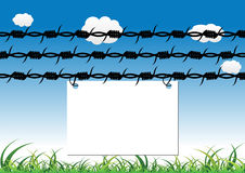 Barbed wire and empty sign Stock Image