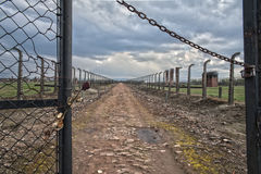 Barbed wire and fance around a concentration camp. Side entrance of the concentration camp. Stock Image