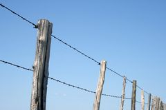 Barbed wire farm fence Royalty Free Stock Images