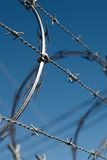 Barbed Wire fence 03. A close up shot of a sharp barbed wire fence stock photo