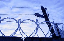 Barbed wire fence. Closeup of barbed wire on top of fence with cloudscape background Stock Photography