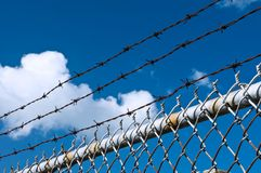 Barbed wire and fence Stock Photos