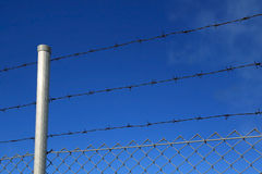 Barbed Wire Fence Against Blue Sky Stock Photos