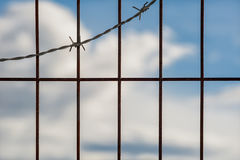 Barbed wire fence against Stock Photos