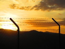 Barbed wire fence. Against Sunrise in Alora countryside, Andalucia Stock Photography