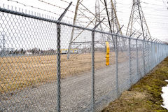 Barbed wire fence. Around a power plant Stock Image