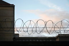 Barbed wire fence around prison walls Stock Images