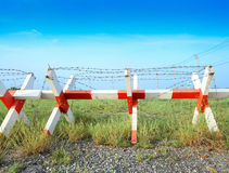 Barbed wire fence for background and abstract Stock Photo