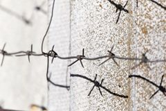 Barbed wire fence . Royalty Free Stock Photography