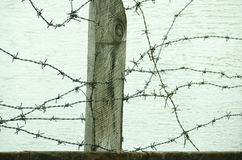 Barbed Wire Fence Close Up In The War Zone To Protect Prisoners From Escaping Camp Stock Image