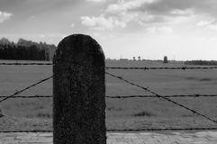 Barbed wire fence in concentration camp Royalty Free Stock Images