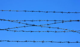 Barbed wire fence detail Royalty Free Stock Photography