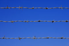 Barbed wire fence detail. Against a blue sky with space for text royalty free stock image
