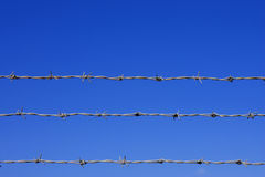 Barbed wire fence detail. Against a blue sky with space for text royalty free stock photo