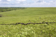 Barbed wire fence detail, Flint Hills, Kansas Stock Images