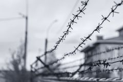 High security colony fenced with barbed wire for criminals with life imprisonment. Barbed wire fence enclosing the prison and places of detention for prisoners Stock Image