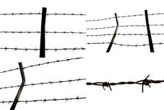 barbed wire fence images over white background stock image
