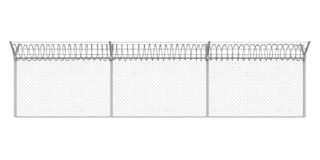 Barbed Wire Fence Isolated. On white background. 3D render Stock Photo