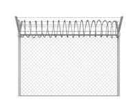 Barbed Wire Fence Isolated. On white background. 3D render Stock Photography