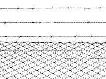 Barbed wire fence isolated on white background Stock Photos