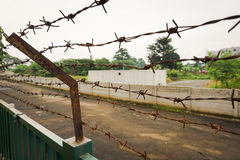 Barbed wire fence at Kariadi General Hospital photo taken in Semarang Indonesia Stock Image