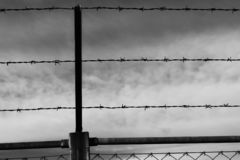 Barbed wire fence in low light. Providing protection to a certain area royalty free stock images