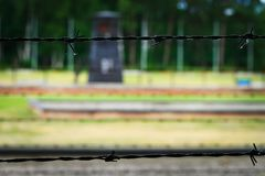 Barbed wire from the fence of the Nazi German concentration camp. Barbed wire from the fence of the Nazi German concentration camp in Stutthof Sztutowo royalty free stock photography