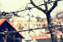 Barbed wire fence in old town Banska Stiavnica, Slovakia, retro Royalty Free Stock Images