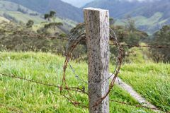 Barbed Wire Fence Post Royalty Free Stock Photography