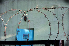 The barbed wire fence in prison. Royalty Free Stock Photos