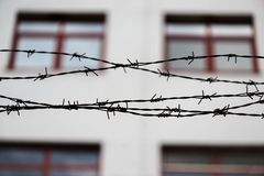 Barbed wire and fence at the prison Royalty Free Stock Images