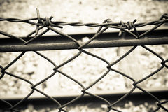 Barbed Wire Fence. Prison Fence in Black and White Closeup. Barbed Wire Fence. Prison Fence in Black and White Closeup,wall warning Stock Photo