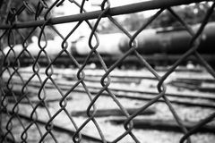 Barbed Wire Fence. Prison Fence in Black and White Closeup. Stock Image