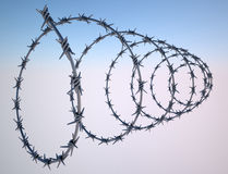Barbed wire fence protection properties Stock Photo