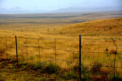 Barbed Wire Fence in the Rain in Prescott Valley. A barbed wire fence is lined with raindrops as a thunderstorm soaks the golden fields of Prescott Valley in Stock Images