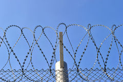 A barbed wire fence with razor sharp wires Stock Images