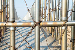 Barbed wire fence. Royalty Free Stock Image