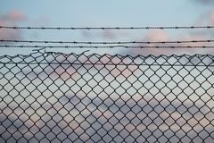 Barbed wire fence. Silhouette view on sunset of a barbed wire fence Stock Photography