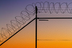 Barbed wire fence at sunset. Barbed wire security fence at sunset Royalty Free Stock Photography