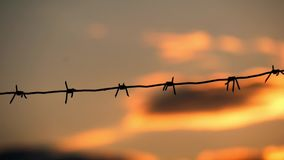 Barbed wire fence with twilight sky to feel silent and lonely and want freedom. Barbed wire steel wall against the. Immigration in Europe stock footage