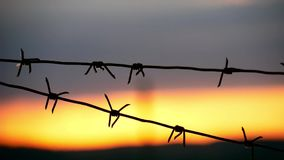 Barbed wire fence with Twilight sky to feel Silent and lonely and want freedom. Barbed wire steel wall against the. Immigration in Europe stock video