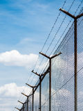 Barbed Wire Fence Under The Sky Background Royalty Free Stock Image