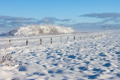 Barbed wire fence winter landscape Royalty Free Stock Images