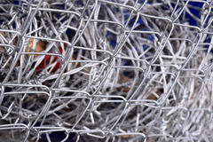 Barbed wire fence in wire mesh fence Royalty Free Stock Images