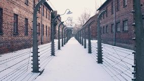 Between barbed wire fences. Auschwitz Birkenau, German Nazi concentration and extermination camp. Barracks in falling Royalty Free Stock Photos