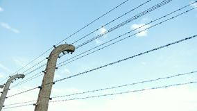 Barbed wire fences in a concentration camp of Hitler`s Germany