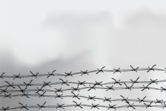 Barbed wire fencing. Fence made of wire with spikes. Black and white illustration to the holocaust. Console camp. Barbed wire fencing. Fence made of wire with royalty free illustration
